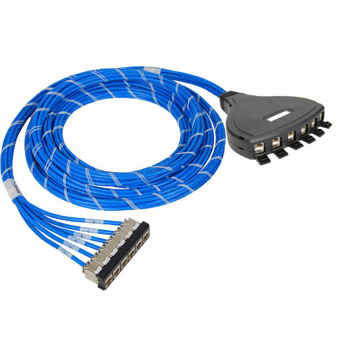 Pre-terminated FTP Cassette Patch Panel with CMR CAT6A Cable Assembly, 6 Ports, Bezel to Outlet Box
