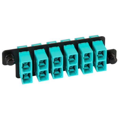 SC to SC Fiber Optic HD Adapter Panel with Aqua Multimode Adapters for 12 10G Fibers