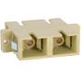SC to SC Fiber Optic SC Mount withDuplex Adapter in Beige with Metal Sleeve