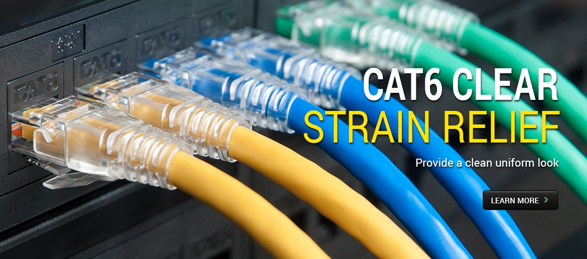 CAT6 Clear Strain Relief - Provide a clean uniform look