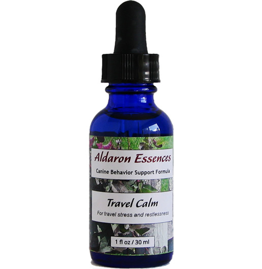 Aldaron Essences' Travel Calm for dogs. Flower remedy to alleviate stress and restlessness while traveling.
