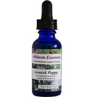 Aldaron Essences' Lovesick Puppy flower remedy for intact male dogs. Reduce frustration, pining & obsessing over in-heat females.