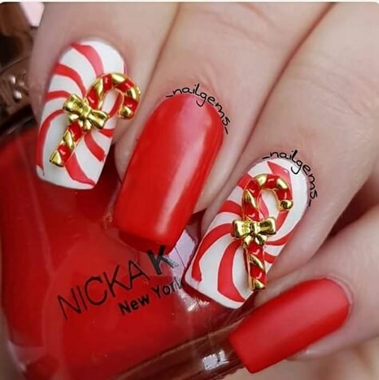 Candy Cane Nail Art Charms