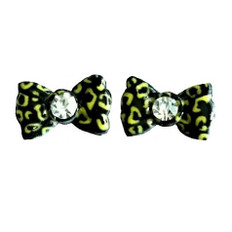 3d nail art gold and black leopard print bows