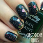 nail design featuring exclusive queen of hearts nail glitter mix