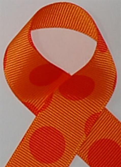 Tang./Orange Biggie Dots Grosgrain Ribbon