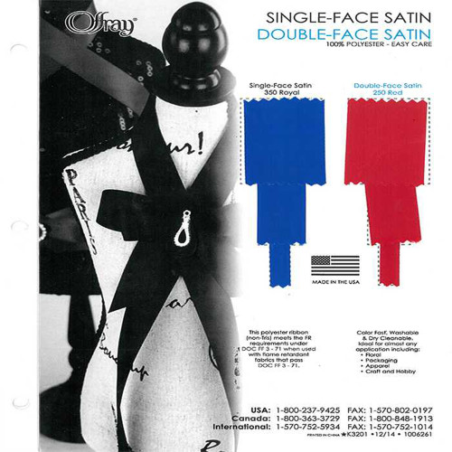 Offray Single Face Double Face Polyester Satin Color Charts