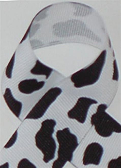 White Cow Print Ribbon