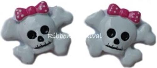 Skull Pink Bow Flatback Resin