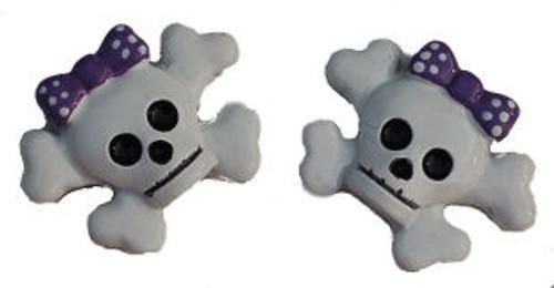 Skull Purple Bow Flat Back Resins