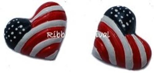 Patriotic Heart Flatback Resin