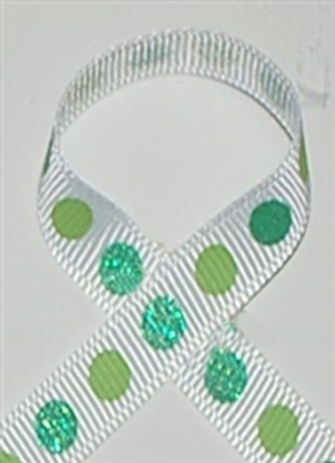 Glitter Polka Dot Ribbon Tropic Blue / Green