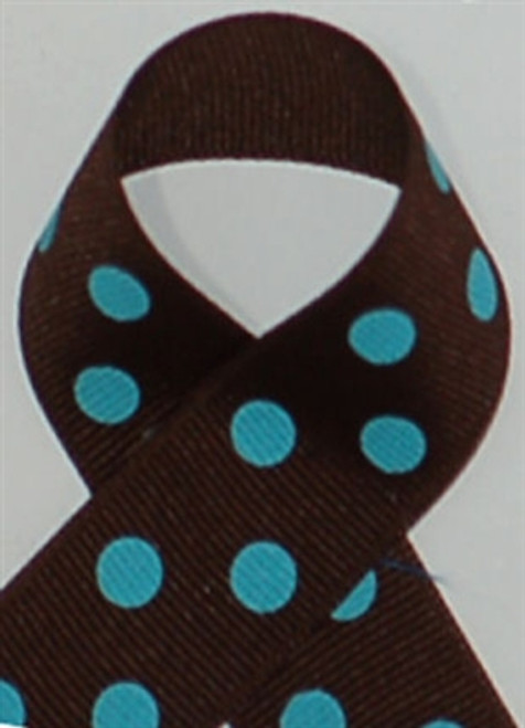 Brown with Turquoise Polka Dots