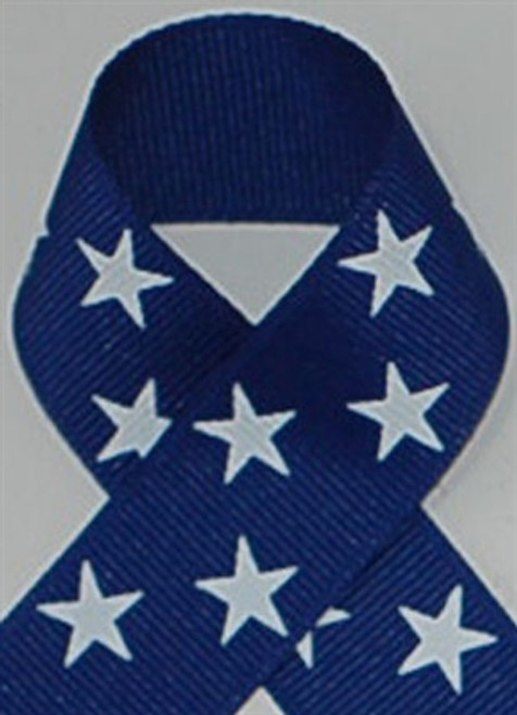 Royal with White Stars Grosgrain Ribbon