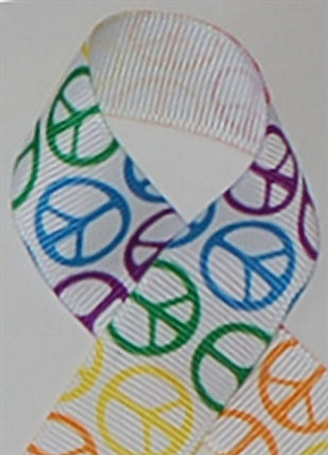 Rainbow Peace Grosgrain Ribbon