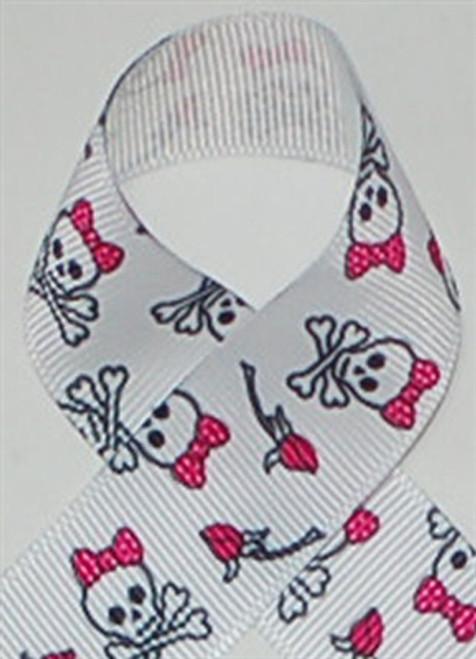 Skulls with Rosebuds Printed ribbon