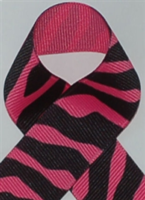 Hot Pink Zebra Printed Ribbon