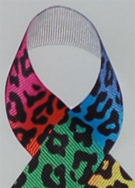 Rainbow Leopard Grosgrain Ribbon