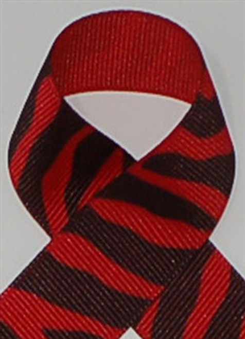 Red Zebra Printed Ribbon. Great for hair bows, cheer bows,craft ribbon and more