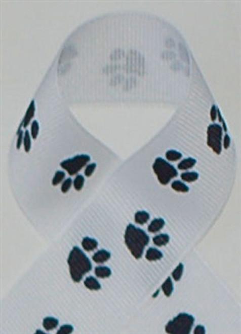 White with Black Paws Grosgrain Ribbon