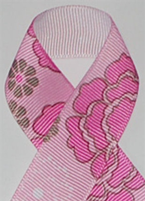 Flower Power Pink Grosgrain Ribbon