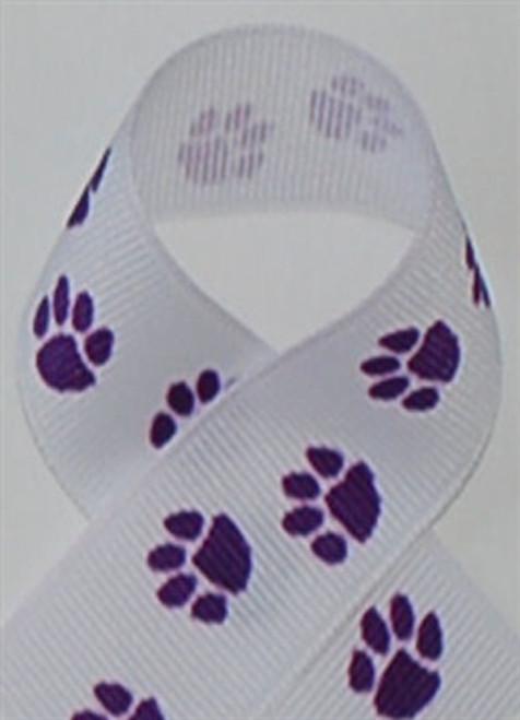 White / Purple Paws Grosgrain Ribbon