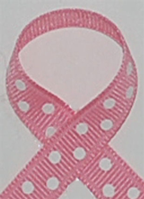 Pink and White Swiss Polka Dots Available in 3/8 . 7/8 and 1.5 size widths.
