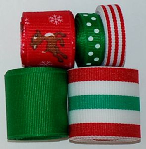 Christmas Reindeer Printed Ribbon Set