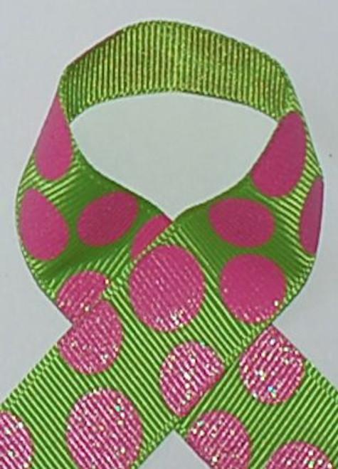 Lime / Hot Pink Dazzle Glitter Sugar Dot Ribbon
