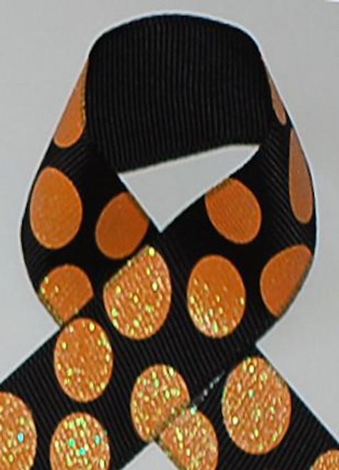 Black / Melon Dazzle Glitter Sugar Dot Ribbon
