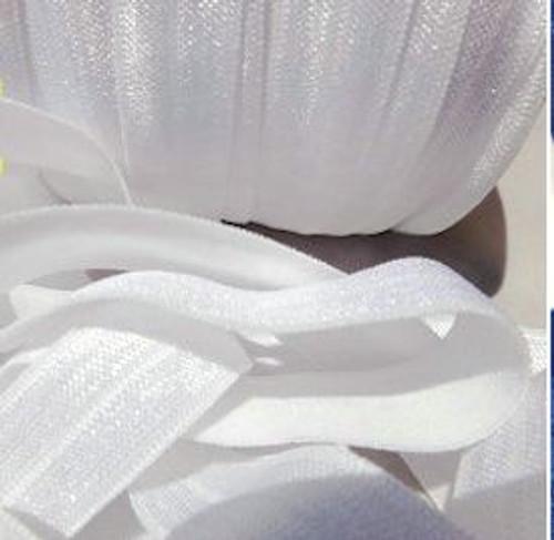 White Fold Over Elastic Ribbon