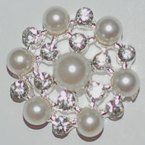Crystal Rhinestone Pearl Cluster Button