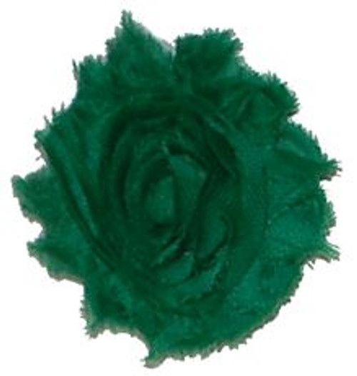 Green shabby chiffon flowers for headbands and crafts