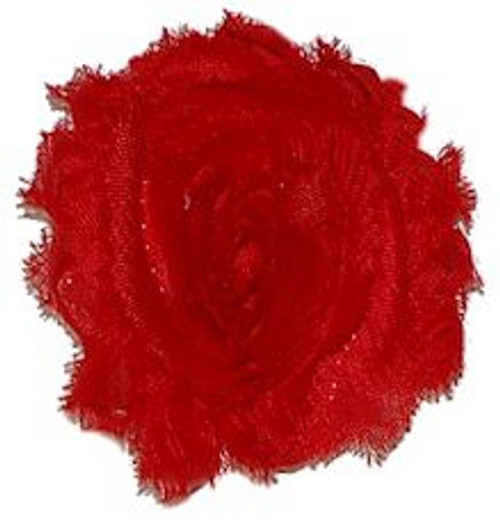 Red shabby chiffon flowers for headbands and crafts