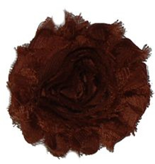 Brown shabby chiffon flowers for headbands and crafts