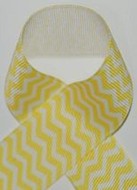 Yellow Chevron Printed Ribbon