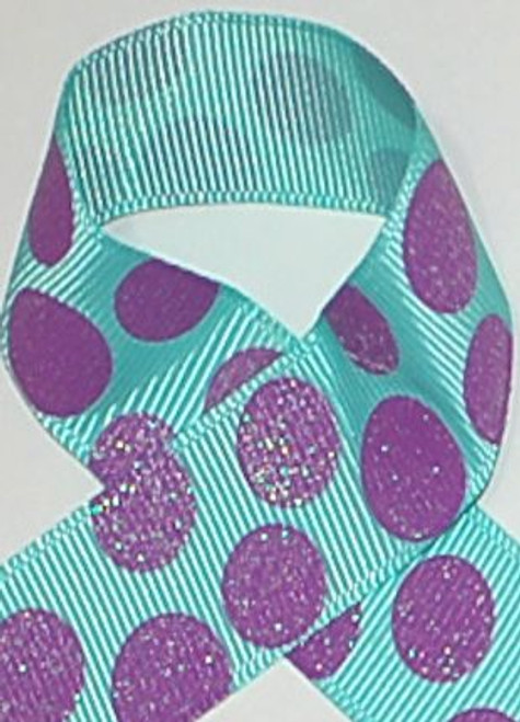 Glitter Polka Dot Ribbon Aqua and Lavender Glitter Ribbon