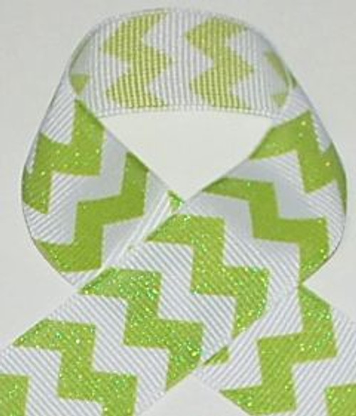 Lime Glitter Chevron Ribbon