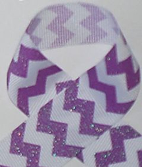 Purple Glitter Grosgrain Chevron Ribbon