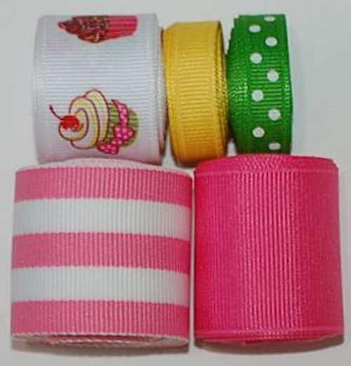 Our cupcake ribbon set is perfect for Spring time and Hair bows and Crafts.