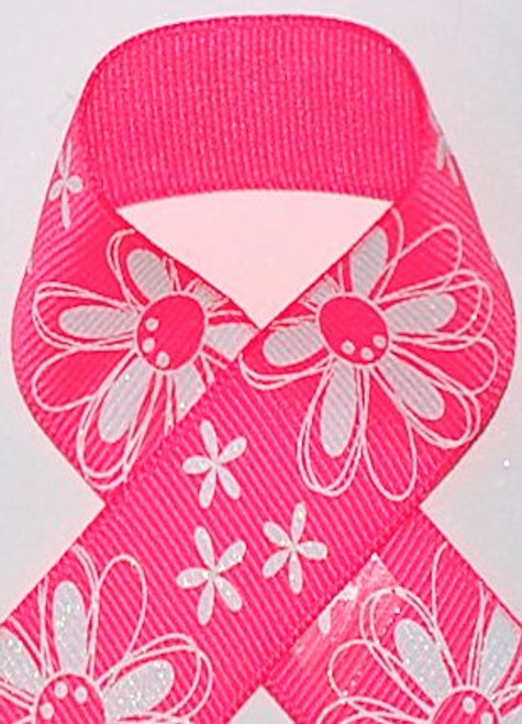 Bright Pink Glitter Printed Daisy Craft Ribbon