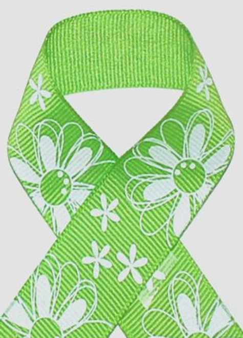 7/8 Apple Green Glitter Printed Daisy Craft Ribbon. Buy 5 yds for $2.60
