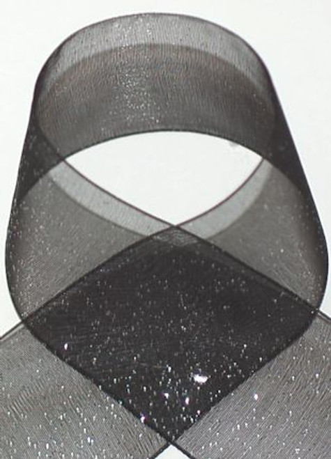 Buy 1.5 inch width Black glitter sheer Ribbon for all occasions.