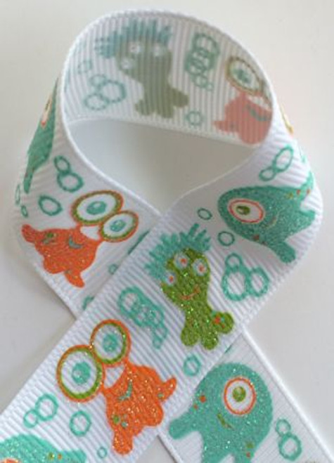 Monsters Glitter Printed Craft Ribbon