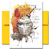 Cherry Cupcake Birthday Card - cover features an abstract drawing of cherry-topped cupcake and the words Happy Birthday