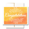 """Business Congratulations Note Card  has the word """"Congratulations"""" in hand-drawn lettering along with a sunburst on a hand-painted watercolor background"""