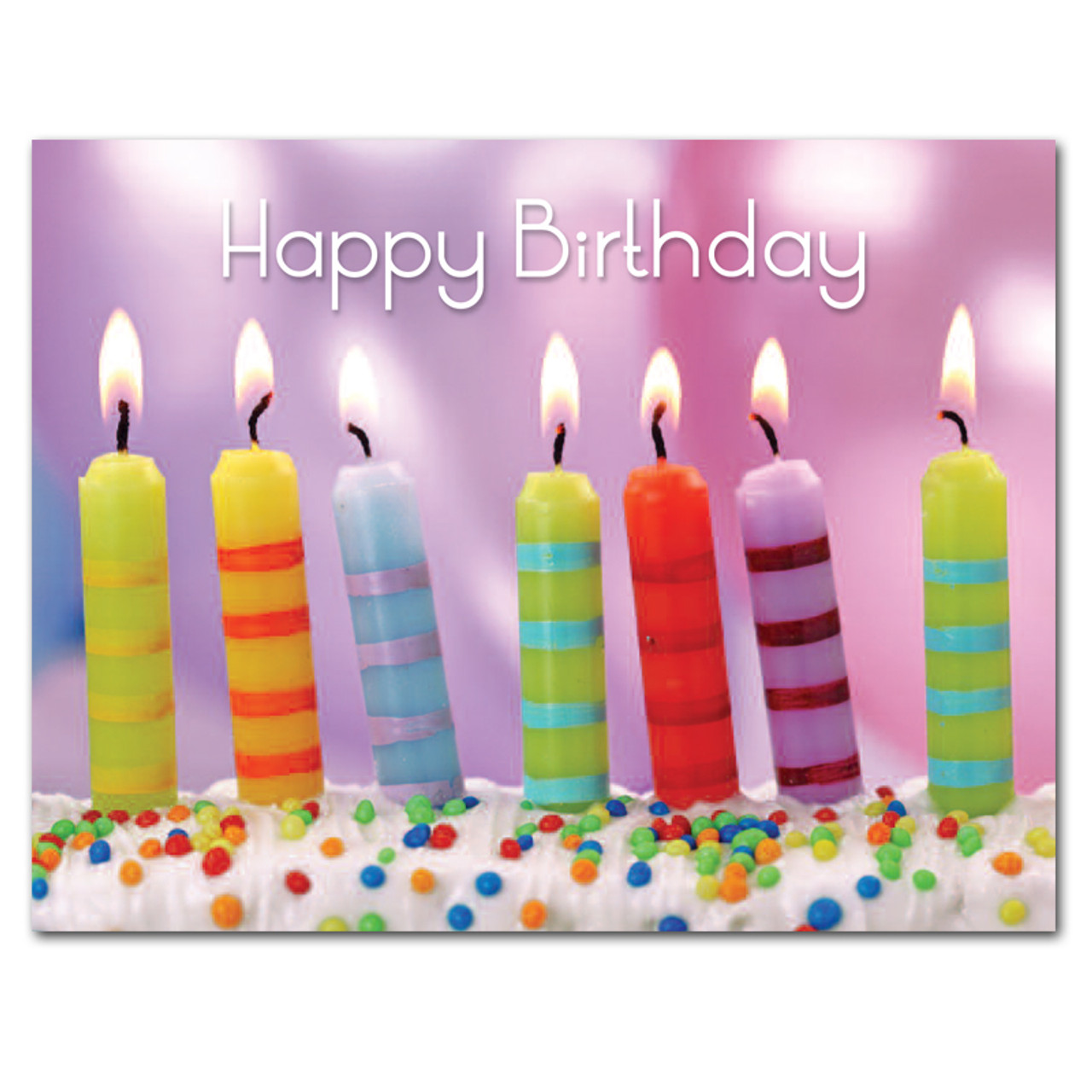 Boxed Birthday Postcards For Business And School Use Striped Candles
