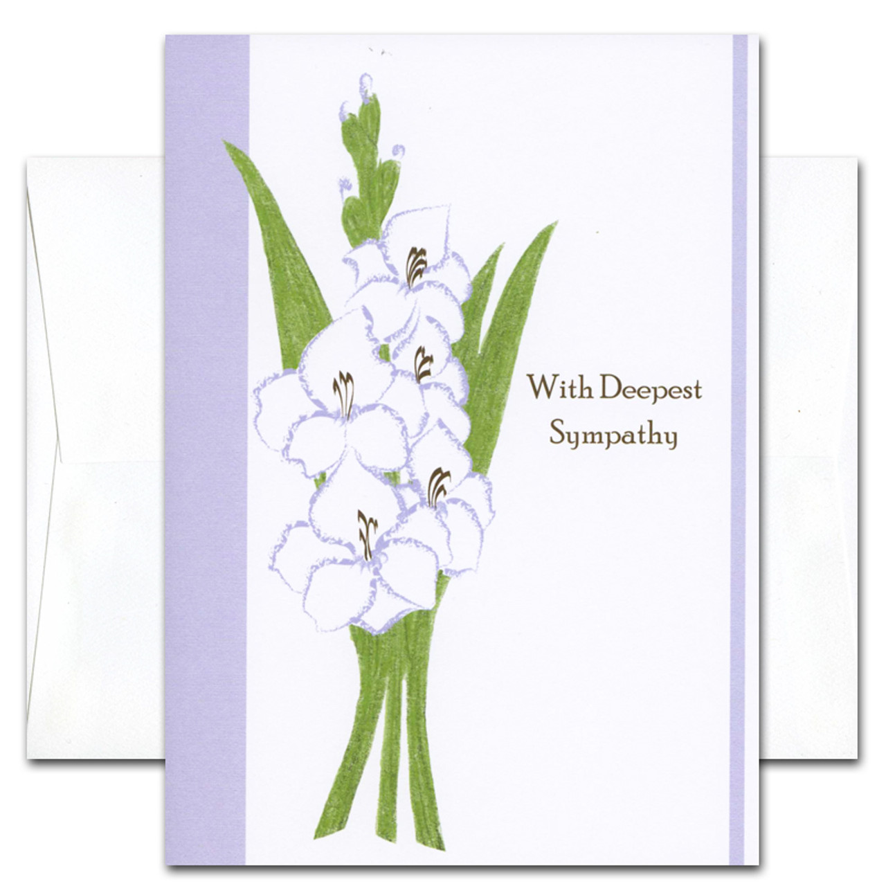sympathy card deepest cover has an illustration of gladiola and the words with deepest - Deepest Sympathy Card