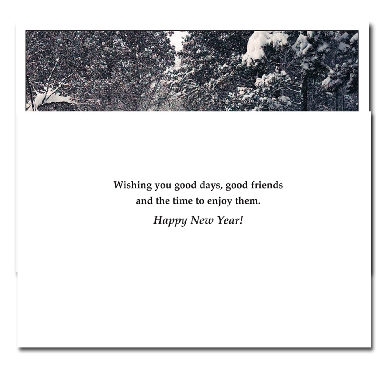 good friends new year card inside reads wishing you good days good friends and