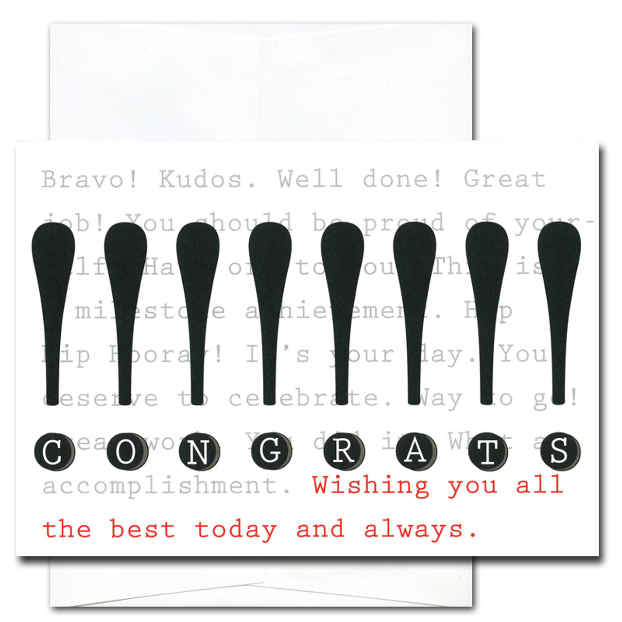 "Business Congratulations Card - Exclamation cover has tall exclamation points in bold black, with the word ""congrats"" spelled out in the dots of the exclamation points, underneath is the phrase ""Wishing you all the best today and always!"""